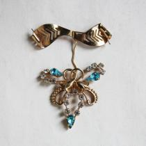 C.1950s Gold Filled Bow with Blue Rhinestone Brooch