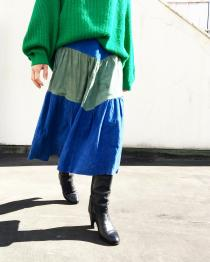 【 suede flare long skirt 】