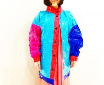 【 crazy pattern over size vinyl jacket 】