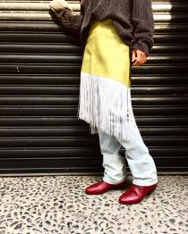 【 emboss × long fringe skirt 】