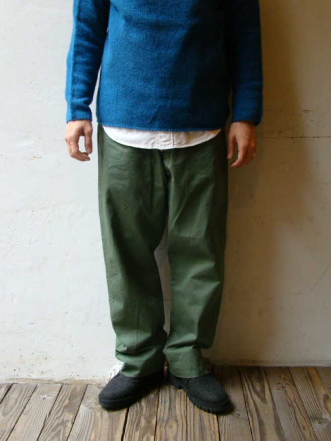 "|【anachronorm アナクロノーム】Chino Cloth Wide Work Trousers ""OLIVE""写真"