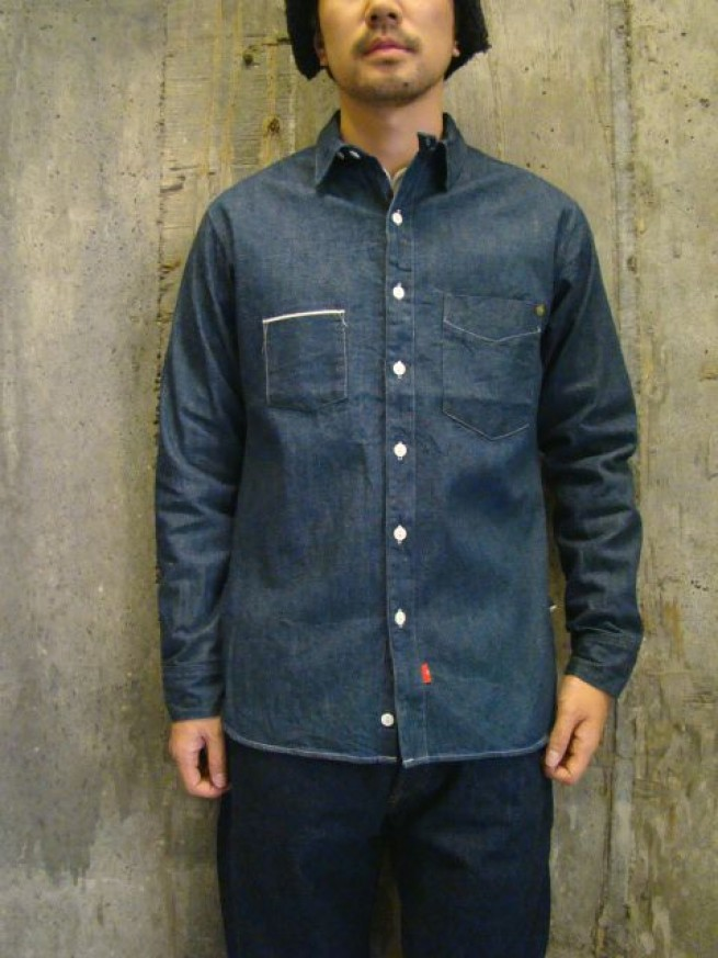 "|【ANACHRONORM アナクロノーム】 FLAT FELL SEAM DENIM WORK SHIRTS ""One Wash""(ANR-037)写真"