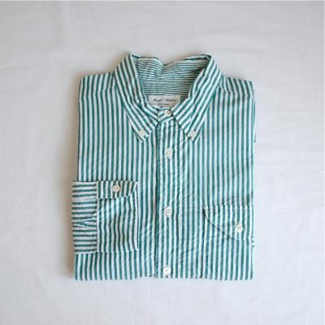 【MANUAL ALPHABET】STRIPE BD SHIRTS / GREEN写真