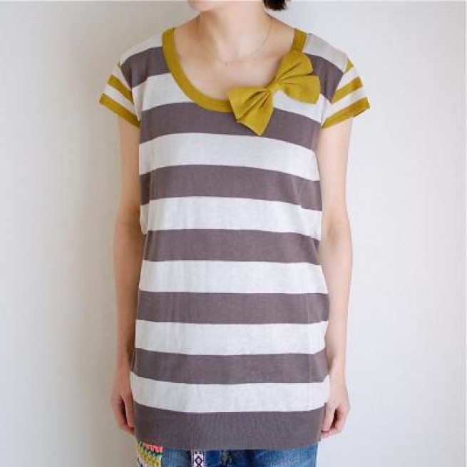 【indi woman】KNIT BD RIBBON F/S OP / GREY写真