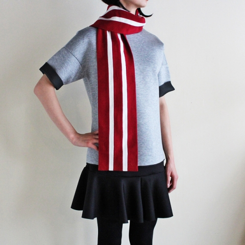 Pure New Wool College Scarf (Red-16)写真