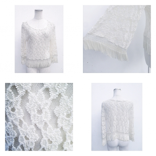 All lace fabric Fringe design top.  写真