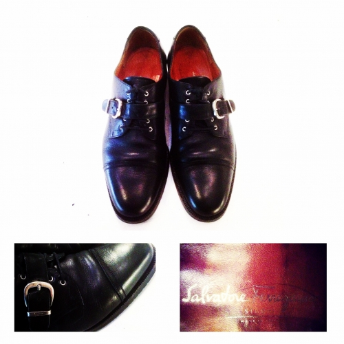『Salvatore Ferragamo』 Belt strap design  Straight tip leather shoes. 写真
