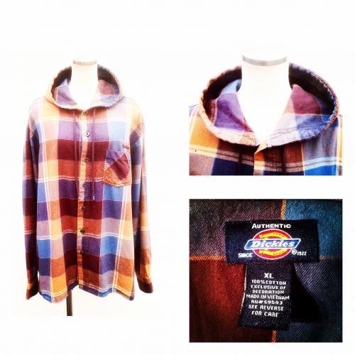 『Dickies』 Fooded-collar Chack pattern L/S shirt. 写真
