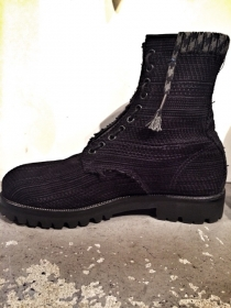 LANVIN BRAIDED SUEDE CALFSKIN TONGUE BOOTS
