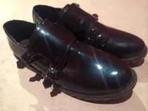 PATENT LEATHER DOUBLE MONK SHOES