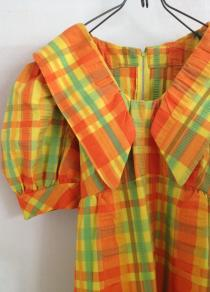 50'sPlaidPuffSleeveDress