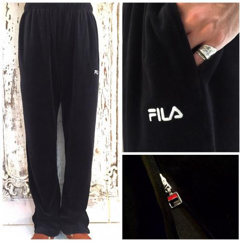 Men's 【FILA】black velours pants写真