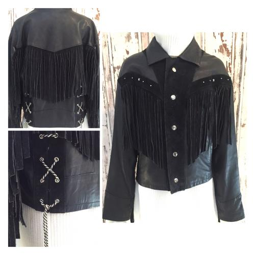Women's leather fringe jacket写真