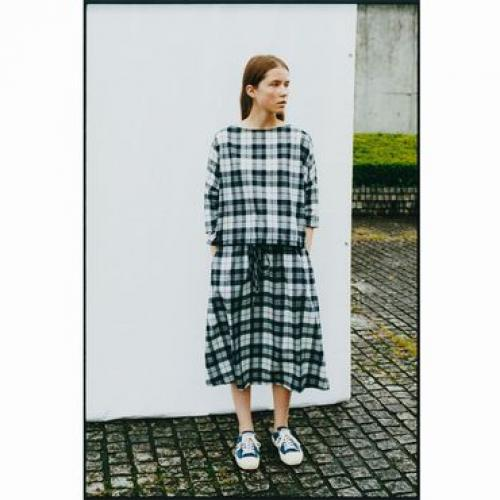 SMOCK BLOUSE  & EASY LONG SKIRT Check / sofar写真