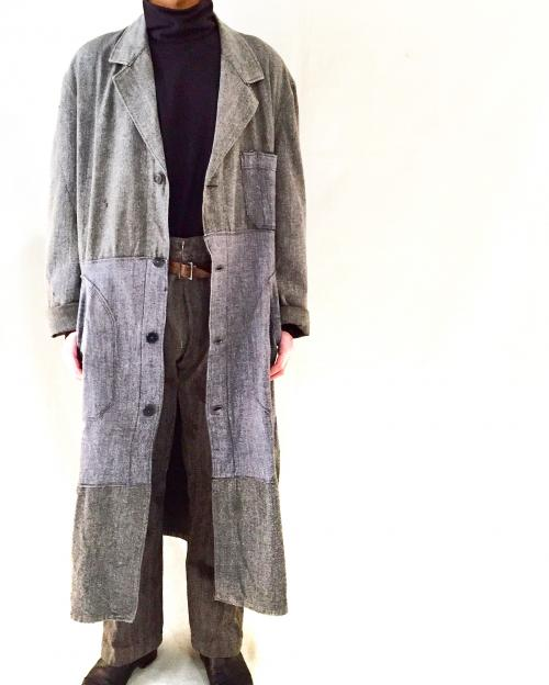‪1950's french vintage‬ ‪【 Black chambray 】Patchwork atelier coat for Men!‬写真