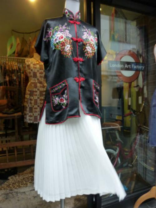 "silk mix オリエンタルtops×ENGLAND ""JAMES MADE"" skirt写真"