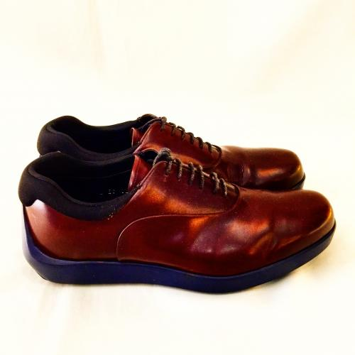 【 PRADA 】BROWN LEATHER SHOES 写真