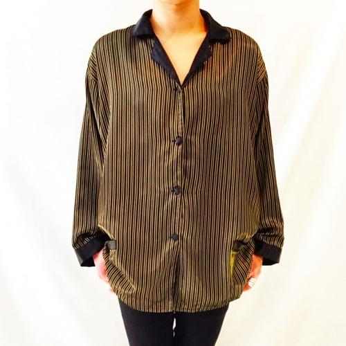 【 stripe satin pajamas shirt 】 写真
