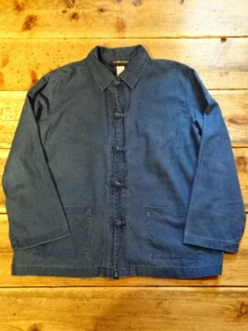 1980~90's Indigo Linen China Shirt Jacket写真