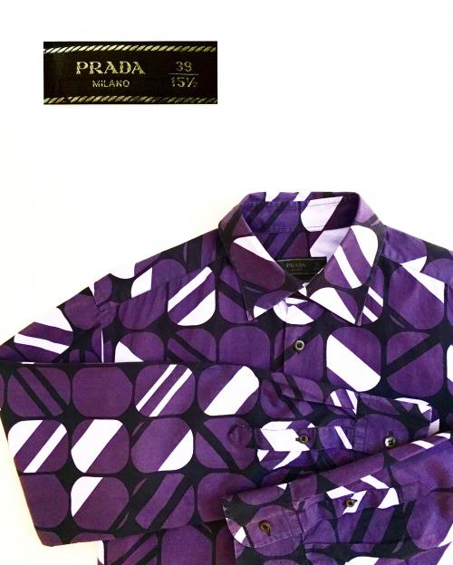 【 PRADA 】 geometric pattern L/S shirt写真