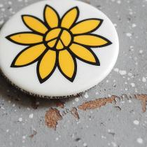 1983 PEACE & SUNFLOWER Pinback Buttons by LURRY FOX BUTTONS