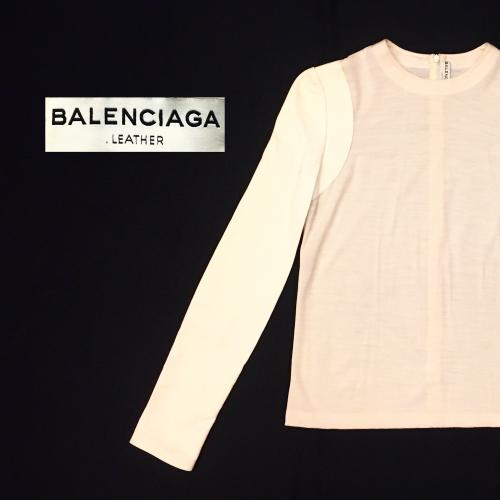 【 BALENCIAGA 】leather sleeve switching tops写真