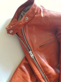 1970's BRIMACO Orange Leather Single Riders Jacket