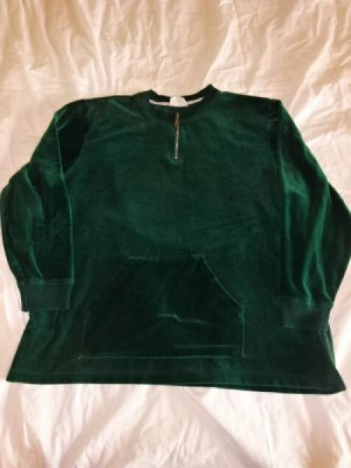 1990's Velour Switched Design Half Zip Cut and Sewn写真