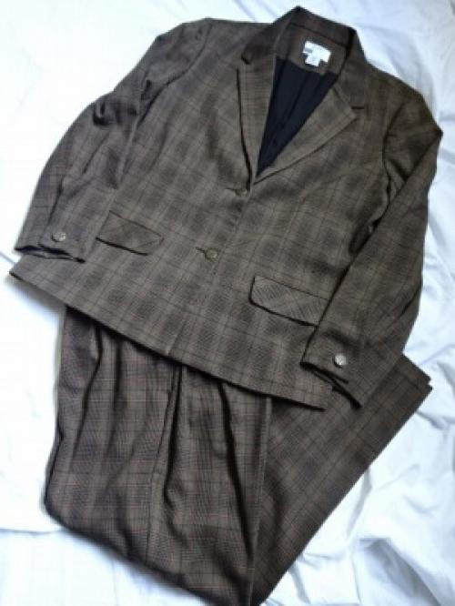 1990's Check Jacket × Wide Pants 2PC Set-Up写真