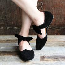 F-TROUPE - Velvet Bow Sandal Shoe (BLACK)