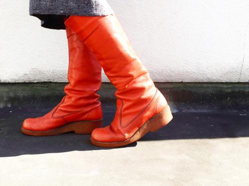 【 leather long boots 】写真