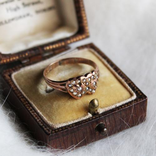 1884 Antique Pearl & Double Heart Ring (K9)写真