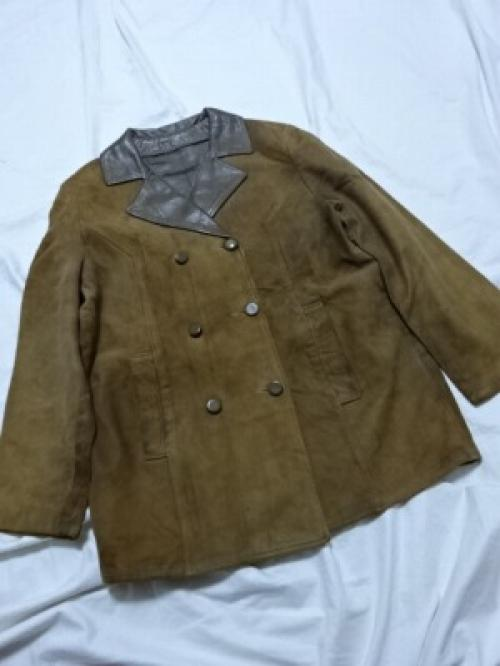 1960's Suede × Leather Bi-Color Double Breasted Coat写真