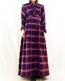 【 70's VINTAGE 】checked × frill long dresses