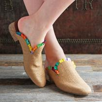 F-TROUPE - Raffia Mule (Natural & Multi)