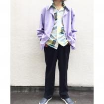 【 Lavender color collarless shirt 】 recommend for Men.