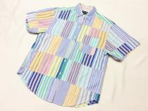 【 Crazy pattern striped design S/S shirt 】