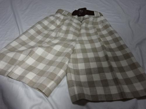 1980's Linen Check Shorts with Belt写真