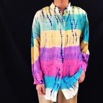 【 whole pattern silk L/S shirt 】