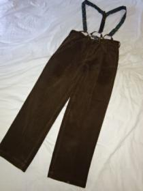 Corduroy Wide Tapered Suspender Pants