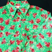 【 70's~ flowers pattern l/s nylon shirt 】 recommend for Men.