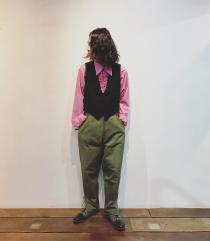 【 70's vintage l/s frill shirt × France 20's vintage gilet 】 recommend for Men.