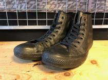 converse ALL STAR LEATHER HI (ブラックモノクローム) USED