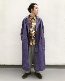 【 70's l/s polyester shirt × leather long coat 】 recommend for Men.