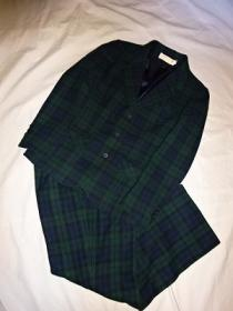 1970's Wool Check Tailored Jacket × Tapered Pants