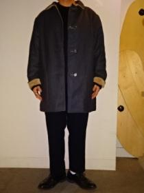 Wool × Velour Design Reversible Coat