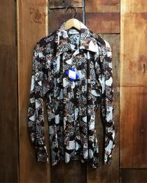 【 70's Dead stock whole handle l/s polyester shirt 】未使用品 recommend for Men.
