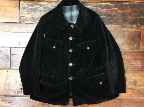【 France vintage 】 black velvet hunting jacket animals button写真