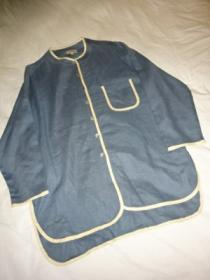 1990's Big Silhouette Piping Design Linen No Collar Shirt