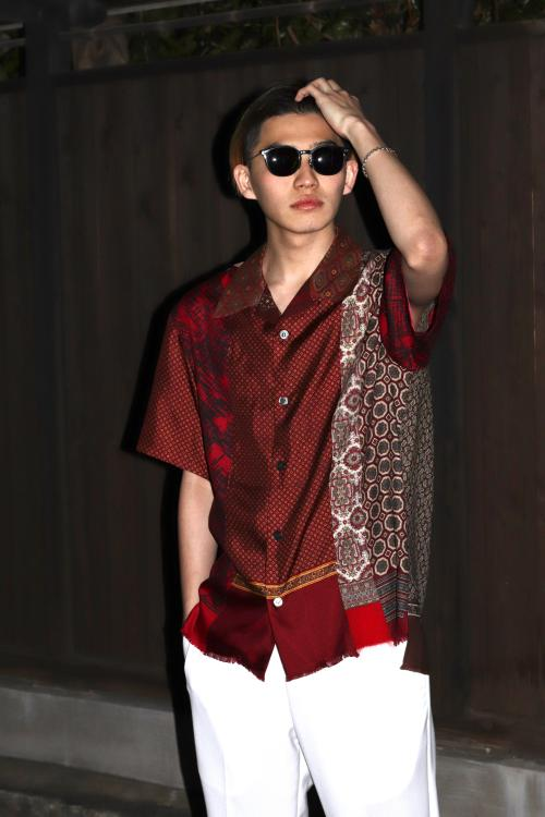New Brand @inkjapan  Various Scarf Shirts (Red)写真